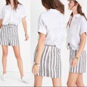 Madewell Lace-up Striped Linen Blend Skirt